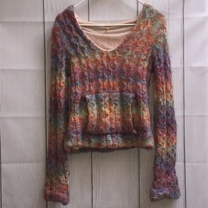 🌈 Free People Pastel Lined Hooded Wool Sweater